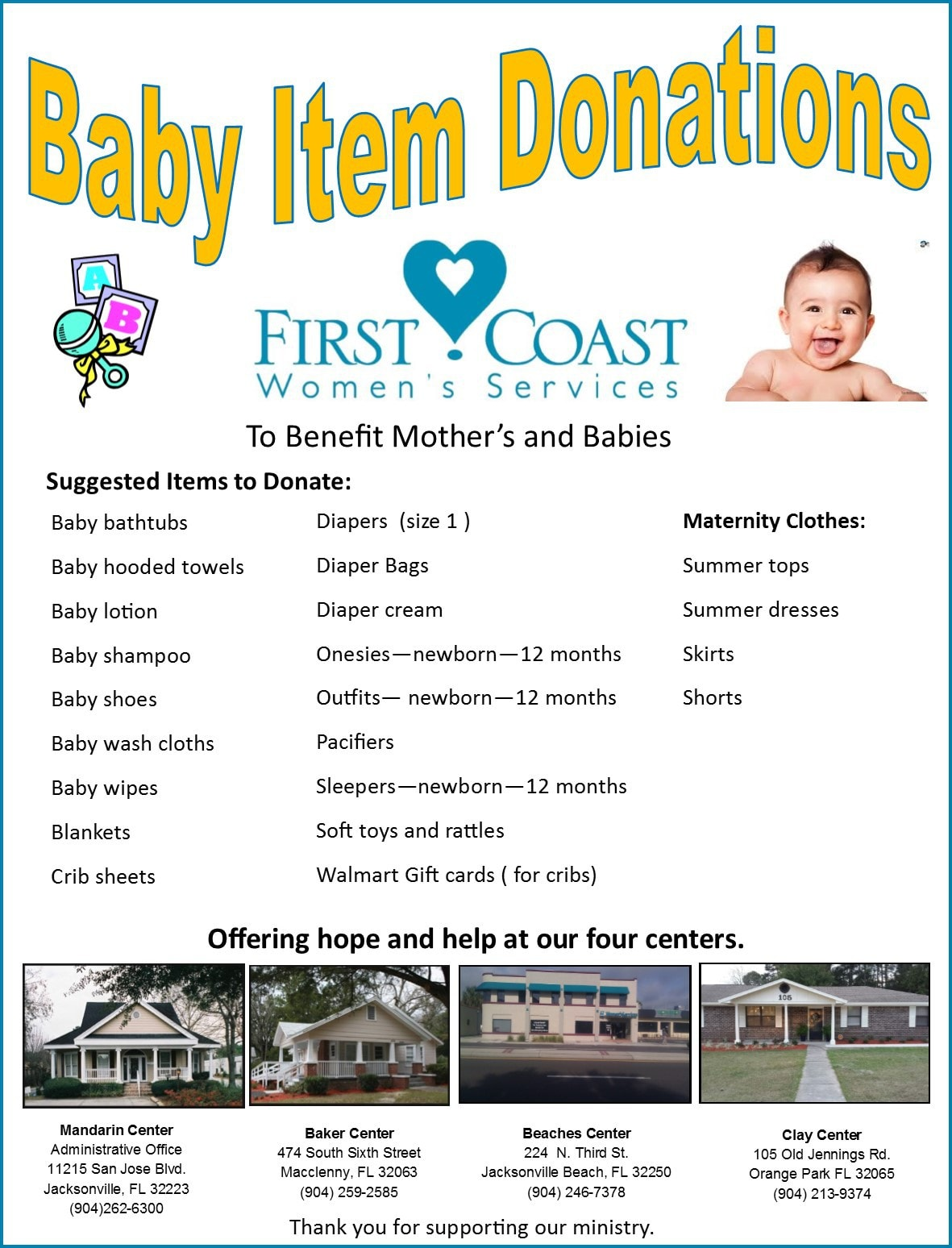 Baby Bottle Campaign (Any Time of the Year) | First Coast ...